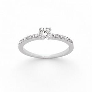 Solitaire Diamant 0,32 Carat G SI1 4 griffes accompagné 0,14 Carat Platine