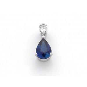 Pendentif Saphir 2,10 Carats taille poire et Diamant 0,24 Carat G P1 Or Blanc