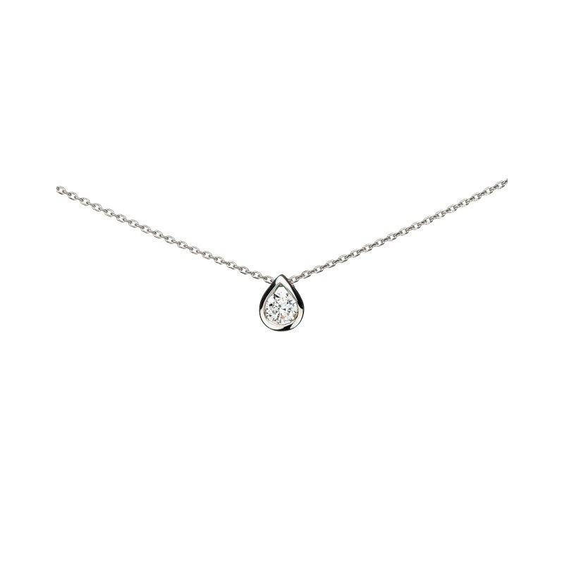 Pendentif Diamant 0,10 Carat H SI taille brillant Or blanc
