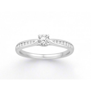 Solitaire Diamant 0,21 Carat G SI2 accompagné 0,14 Carat Or blanc