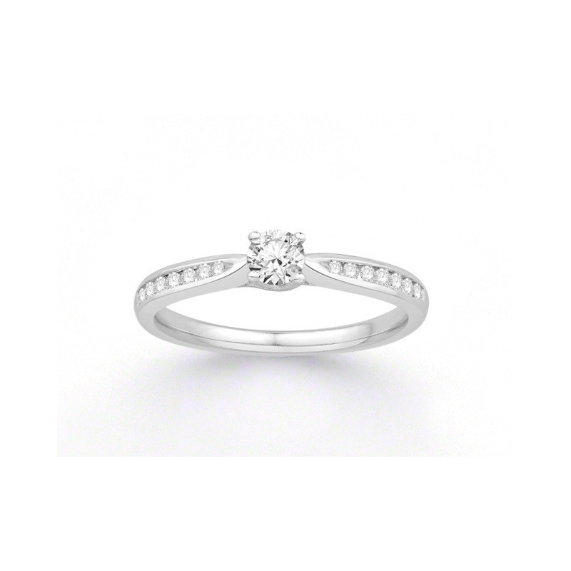 Solitaire Diamant 0,21 Carat G SI2 accompagné 0,14 Carat Or blanc