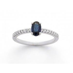 Bague Saphir 0,76 Carat Diamants Accompagné 0,11 Carat H SI Or blanc