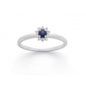 Bague Saphir 0,15 Carat entourage Diamants 0,06 Carat H SI Or blanc