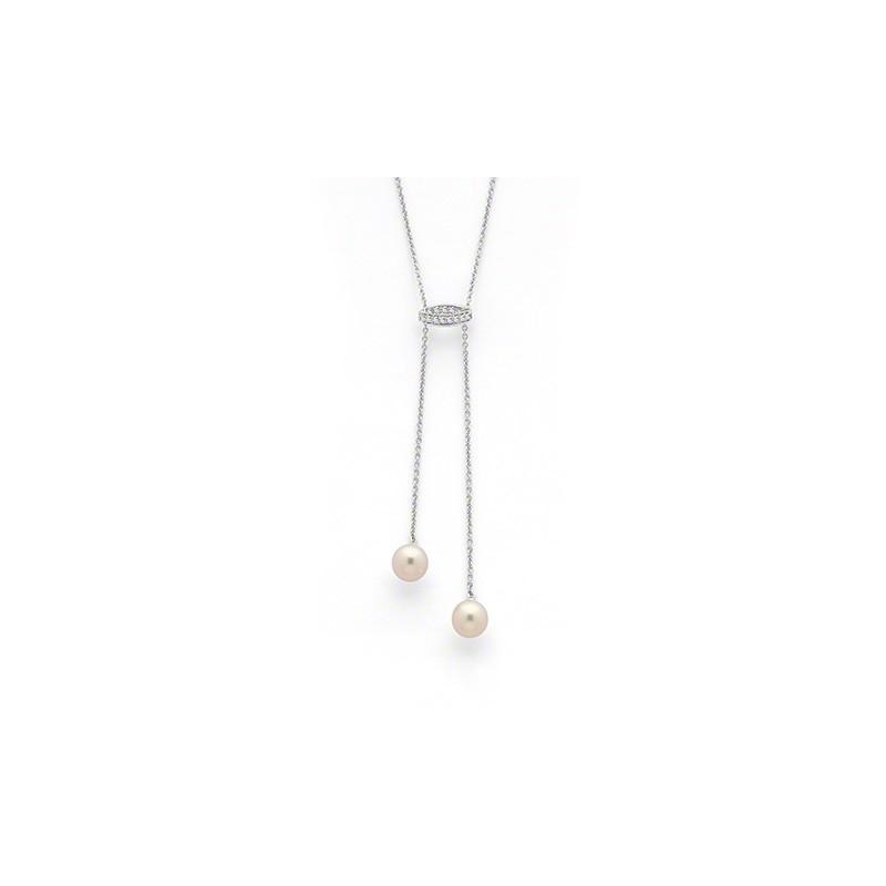 Pendentif Perles de culture Akoya Japon duo 7,5-8mm Diamants Or blanc