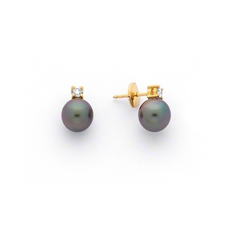 Boucles d'oreilles Perles de culture de Tahiti 8-8,5mm rondes Diamants Or jaune