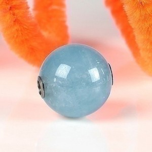 Fermoir interchangeable Aigue-marine boule poli brillant 12mm Acier