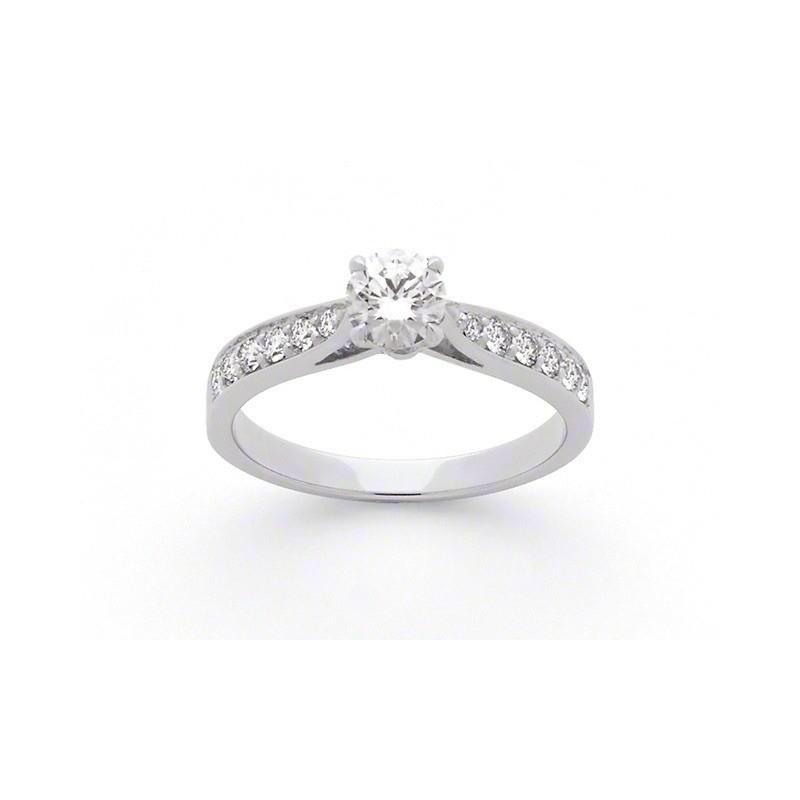 Solitaire Diamant 0,51 Carat F SI1 4 griffes accompagné 0,27 Carat