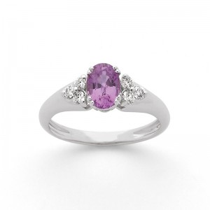 Bague Saphir violet 0,85 Carat et Diamants 0,20 Carat G VS Or blanc