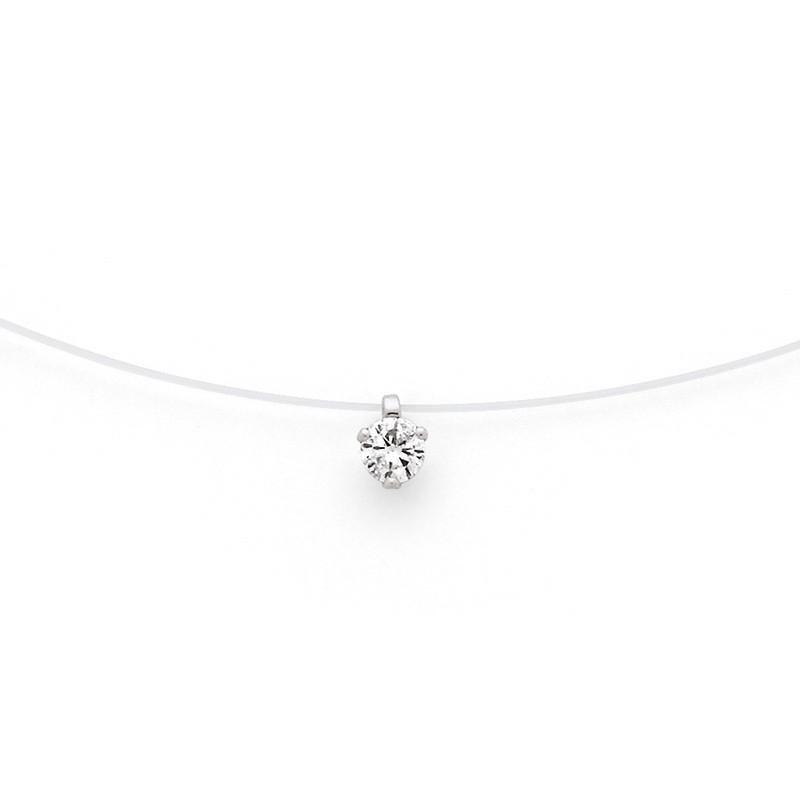 Pendentif Diamant 0,16 carat G VS 3 griffes Fil nylon Or blanc