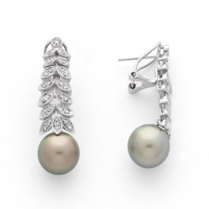 Boucles d'oreilles perles de culture de Tahiti 10mm rondes Diamants Or blanc