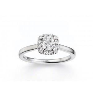 Solitaire Diamant 0,40 Carat H SI1 4 griffes accompagné 0,12 Carat Or blanc