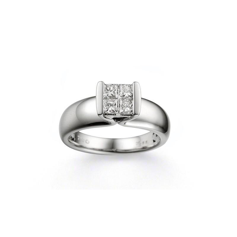 Bague Diamants taille princesse 0,57 Carat G VS2 Or blanc