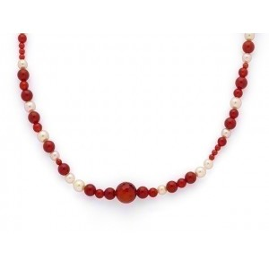 Sautoir Perles de culture Akoya japon, Cornaline, Corail