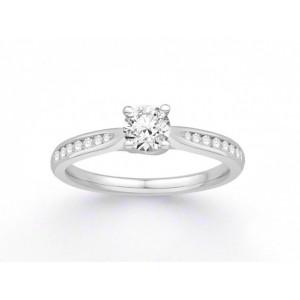 Solitaire Diamant 0,43 Carat G SI2 4 griffes accompagné 0,13 Carat Or Blanc
