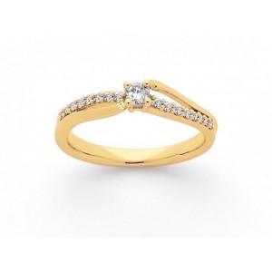 Solitaire Diamant 0,10 Carat G SI 4 griffes accompagné 0,10 Carat Or blanc-1