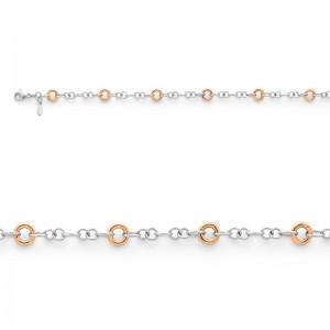 Bracelet maille Anneaux 8mm Or jaune et Or blanc