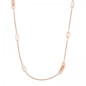 Collier mailles 3 motifs Nacre Or rose