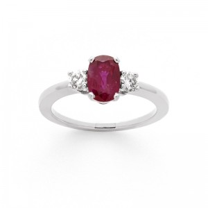 Bague Rubis 0,87 Carat et Diamants 0,19 Carat G SI Or blanc