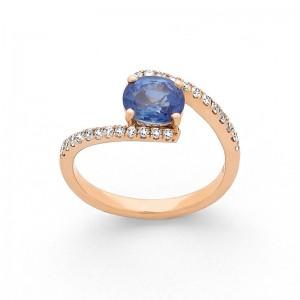 Bague Saphir 1,34 Carats et Diamants 0,27 Carat G SI Or rose