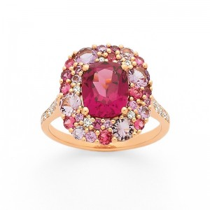 Bague Rhodolite Tourmaline rose Saphir rose Améthyste Diamants Or rose