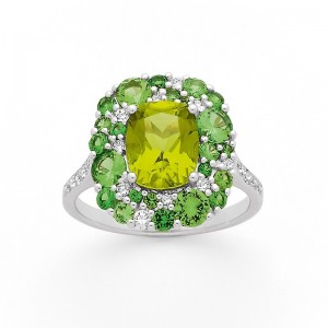 Bague Péridot Tsavorite 2 tons Diamants Or blanc