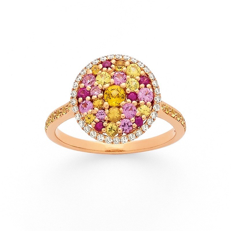 Bague Saphirs roses Saphirs jaunes Diamants Or rose