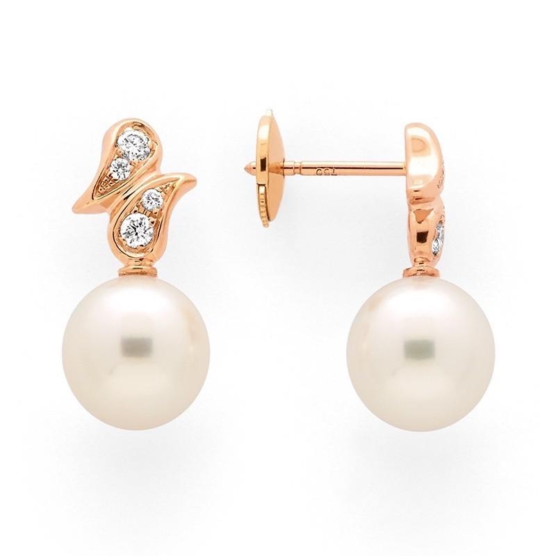 Boucles d'oreilles Perles de culture Akoya Japon ronde 8,5-9 mm Or rose
