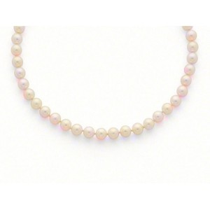 Collier Perles de culture Choker Akoya Japon Blanc-rosé 7-7,5mm Or jaune