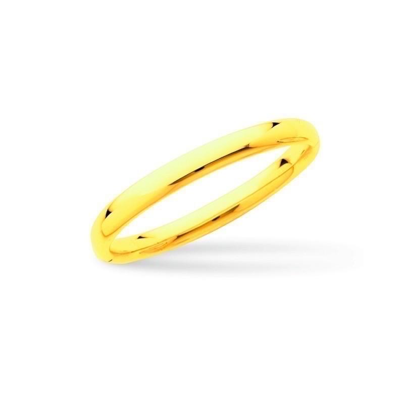 Bracelet Jonc rigide ouvrant fil ovale 8 mm forme ovale Or jaune