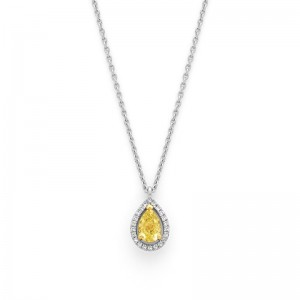 Pendentif Diamant 0,57 Carat Fancy Yellow entourage 0,09 Carat F VS Or blanc