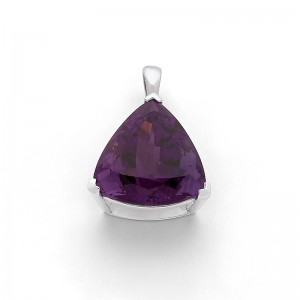 Pendentif Améthyste 11,65 Carats triangle taille laser Or blanc
