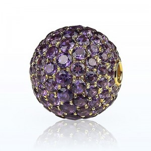 Fermoir interchangeable Améthystes boule 14mm
